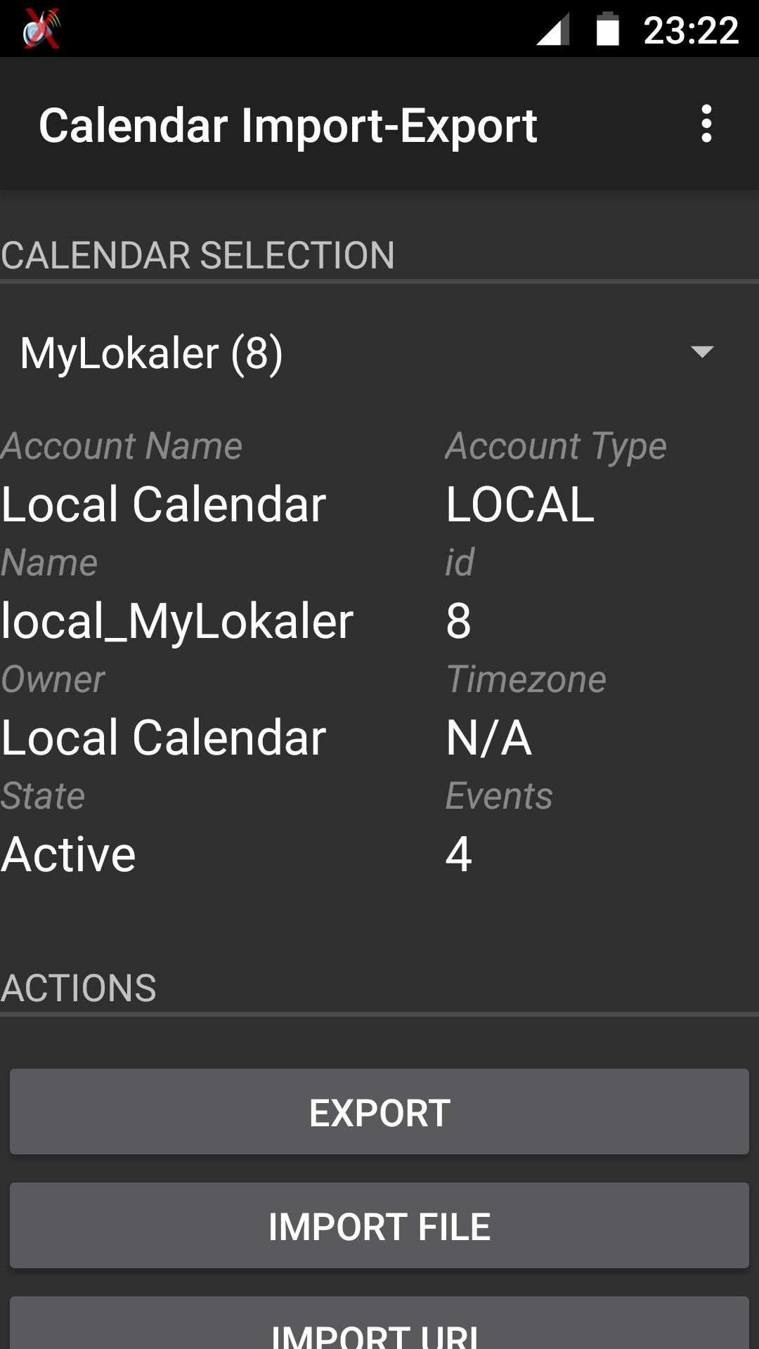 Screenshot Calendar Import-Export